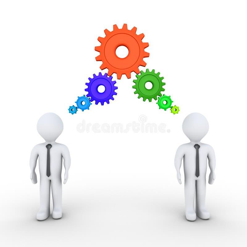Biznesmeni myśleć z związanymi cogwheels ilustracji
