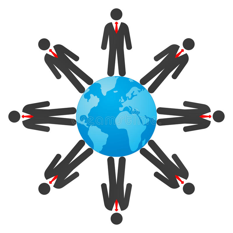 Biznesmeni na kuli ziemskiej royalty ilustracja
