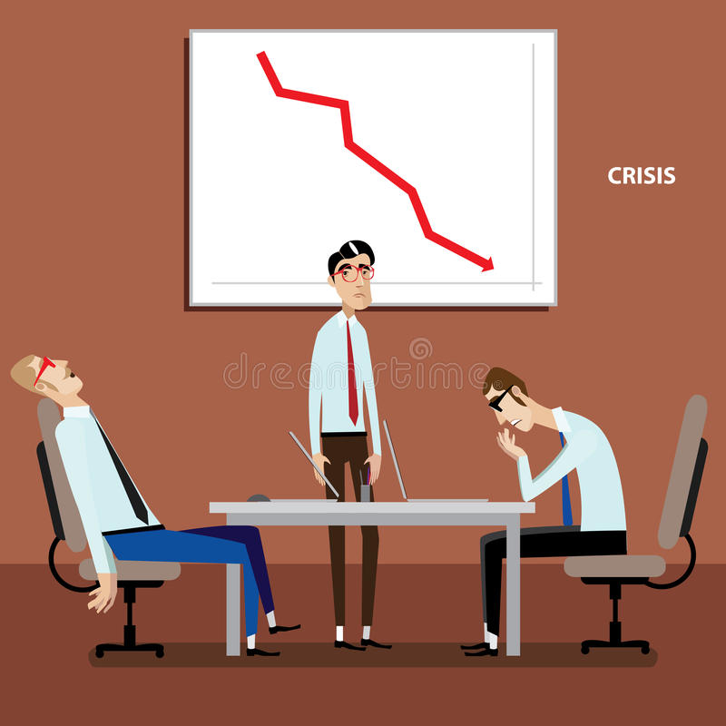 Biznesmeni na spotkaniu z negatywnym wykresem ilustracji