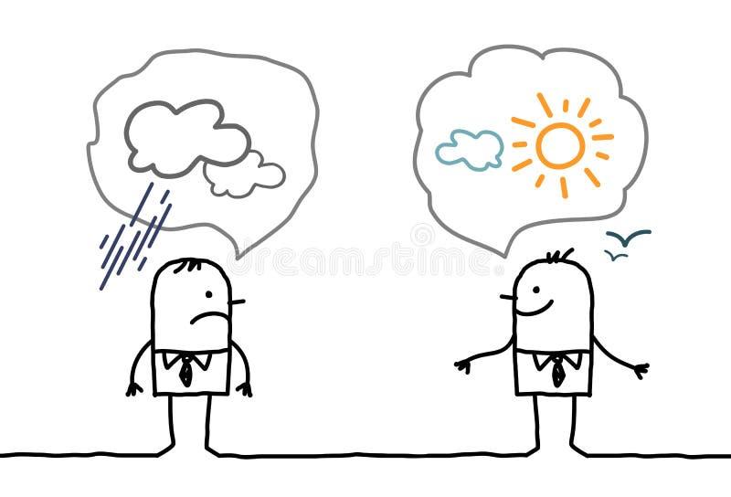 Biznesmeni optymistycznie i pesymistyczni - ilustracji