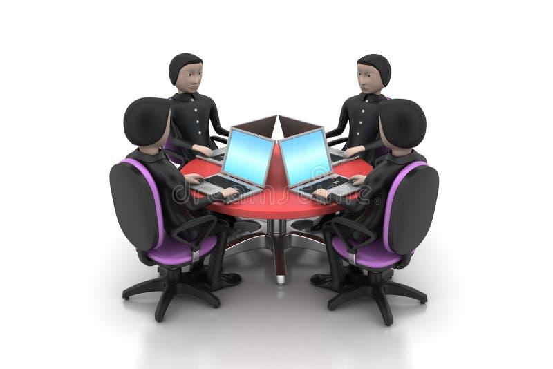 Biznesmeni patrzeje laptopy wokoło stołu ilustracji