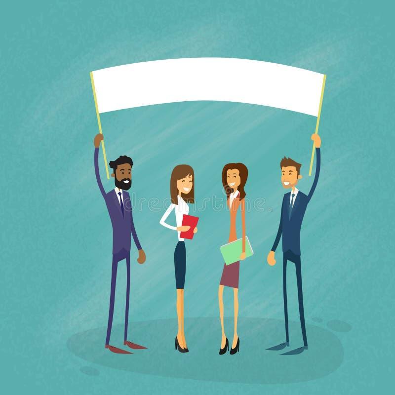 Biznesmeni Pokazują Białą deskę, Signboard, Pusty ilustracji