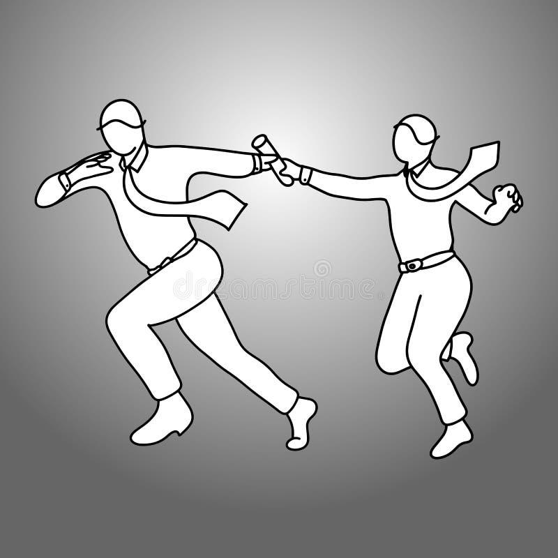 Biznesmeni przechodzi sztafetowej batuty wektorowego ilustracyjnego doodle sk ilustracji