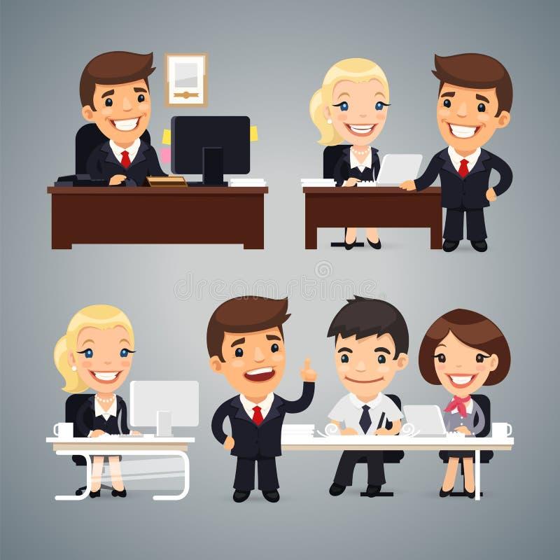 Biznesmeni przy Stołową pracą zespołową ilustracja wektor