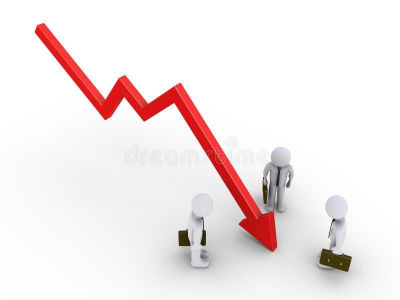 Biznesmeni są przyglądającym wykresem iść w dół ilustracja wektor