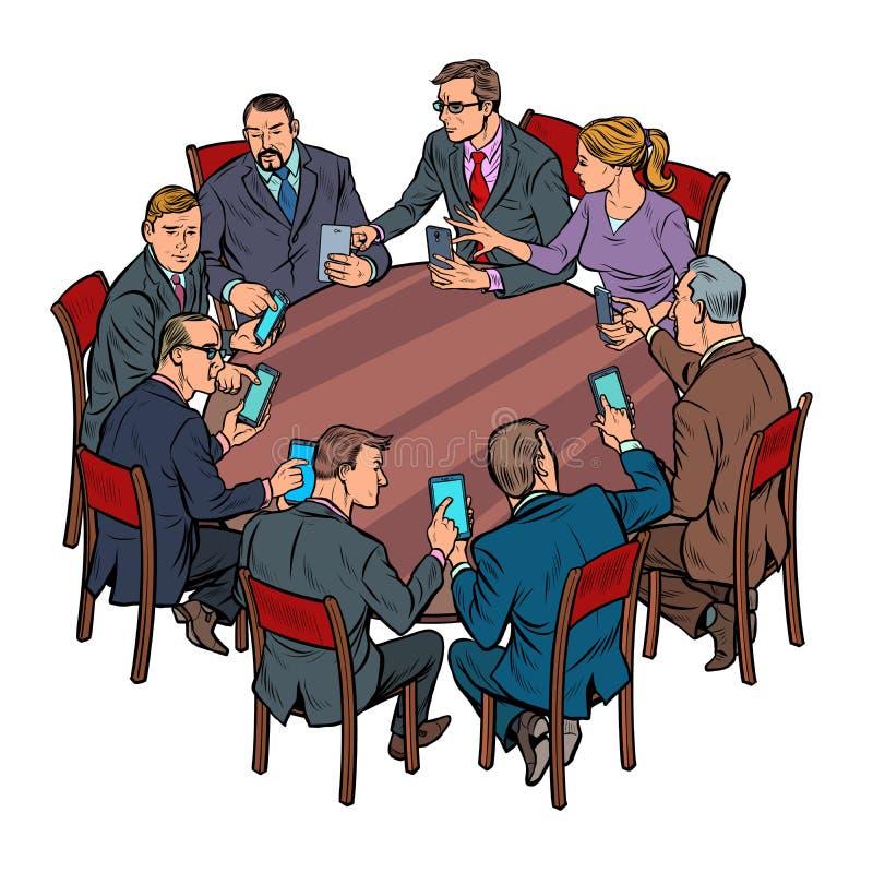 Biznesmeni spotyka mężczyzny i kobiety smartphones gadżetów technologia ilustracja wektor