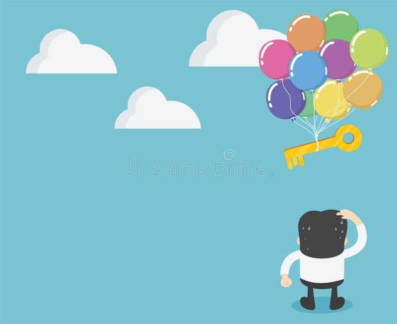 Biznesmeni stoi patrzejący klucz z balonami unosi się daleko od ilustracja wektor