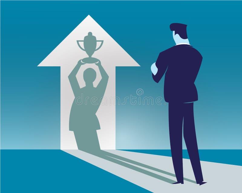 Biznesmeni stoją patrzeć strzała wnętrze odbicie ich sukces ilustracji