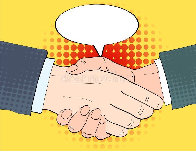 Biznesmeni trząść ręki i opróżniają mowy żarówki wektoru illustratio ilustracji