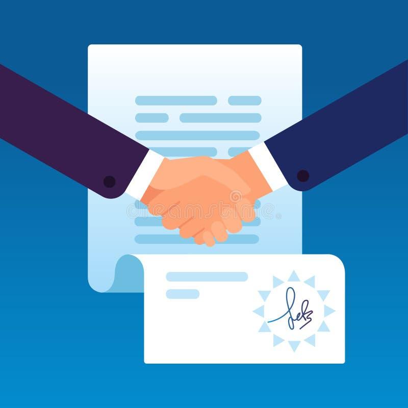 Biznesmeni trząść ręki podpisywać kontrakt Partnerstwo zgoda z korporacyjnym prawnikiem, sprzedający biznes i inwestycję ilustracja wektor