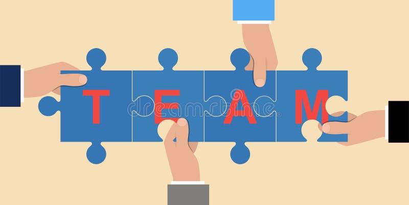 Biznesmeni trzyma łamigłówkę w ich falcowania słowie drużyna Kawałki wpólnie Pracy zespołowej pojęcie Symbol pracować wpólnie coo royalty ilustracja