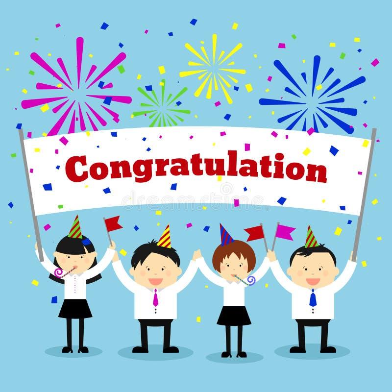 Biznesmeni trzyma gratulacje znaka wektor ilustracji