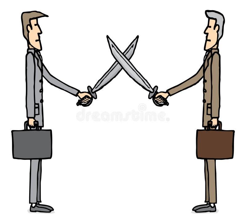 Biznesmena kordzik rywalizujący z sobą royalty ilustracja