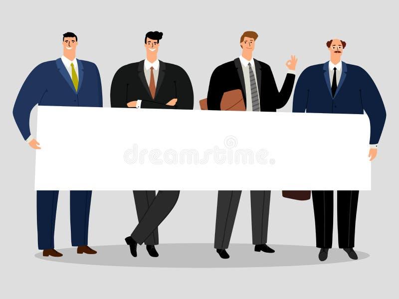 Biznesmeni trzyma sztandar Grupa męska aktywisty wektoru ilustracja ilustracja wektor
