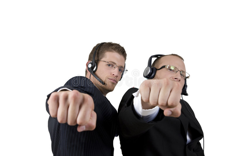 biznesmeni uderzać pięścią pokazywać obraz stock