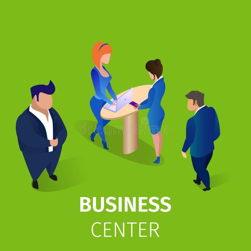 Biznesmeni w centrum biznesu kwadrata sztandarze royalty ilustracja
