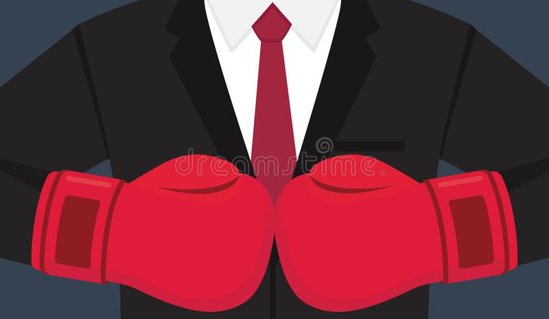 Biznesmeni z Bokserską rękawiczką Biznesowa wyzwanie ilustracja royalty ilustracja