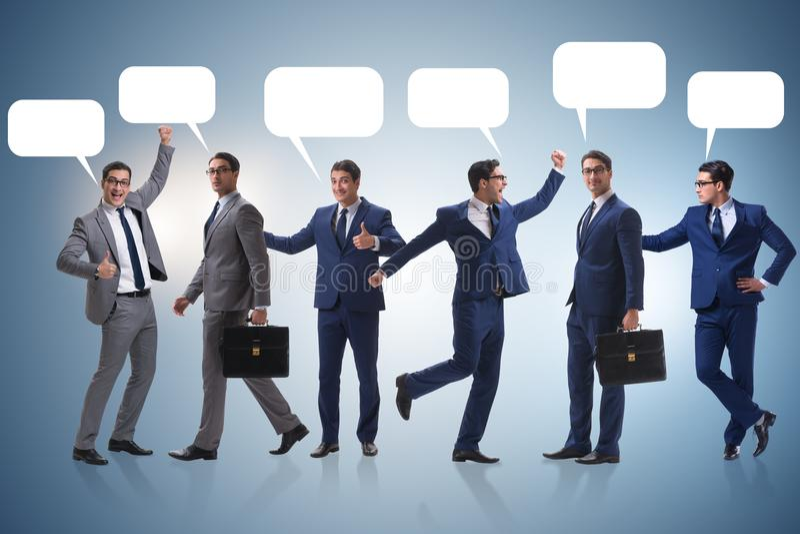 Biznesmeni z callout bąbla pustego miejsca wiadomością zdjęcie stock
