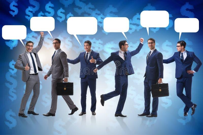 Biznesmeni z callout bąbla pustego miejsca wiadomością zdjęcia royalty free