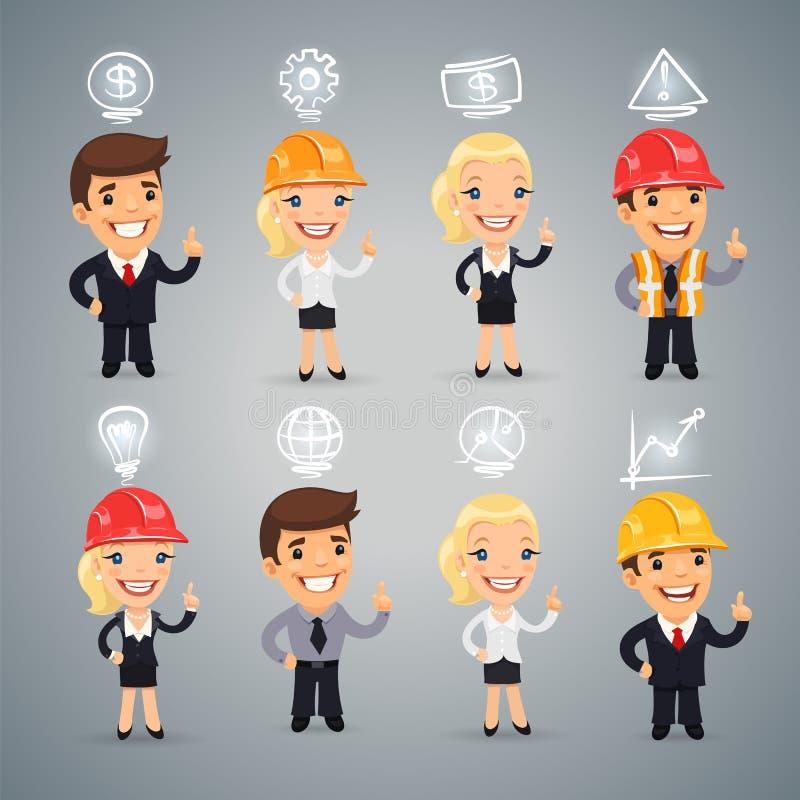 Biznesmeni z ikonami Ustawiać royalty ilustracja