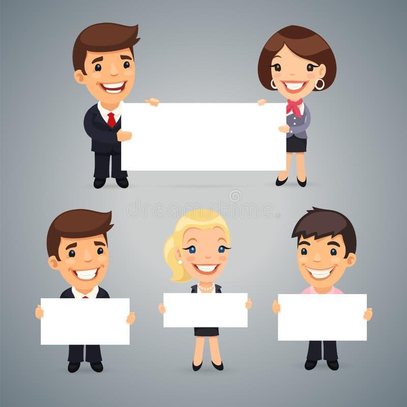 Biznesmeni Z Pustym plakatem ilustracji