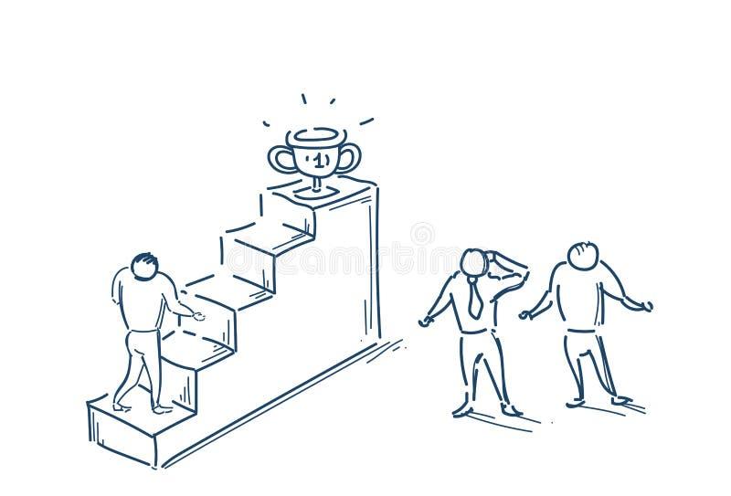 Biznesmeni zespalają się ciężkiego pracującego odprowadzenie w górę schodków, pojęcie biznesowego mężczyzna wygrany trofeum nagro royalty ilustracja