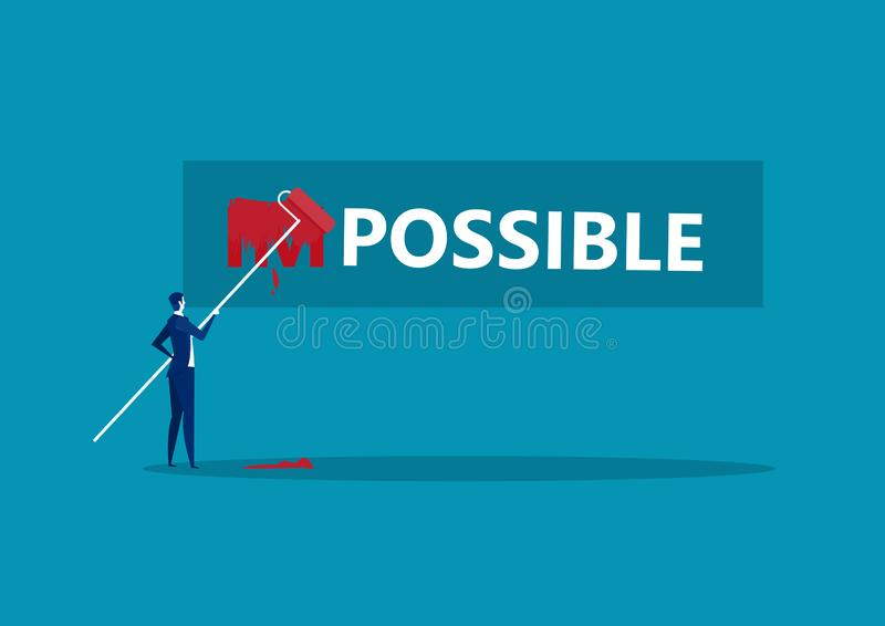 Biznesmeni zmieniający słowo na niemożliwe z czerwonym niebieskim tłem ilustracja wektor