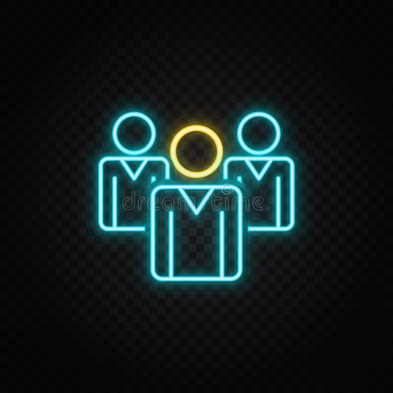 biznesmenka, lider neon icon Ikona wektora neonowego niebiesko-żółtego royalty ilustracja