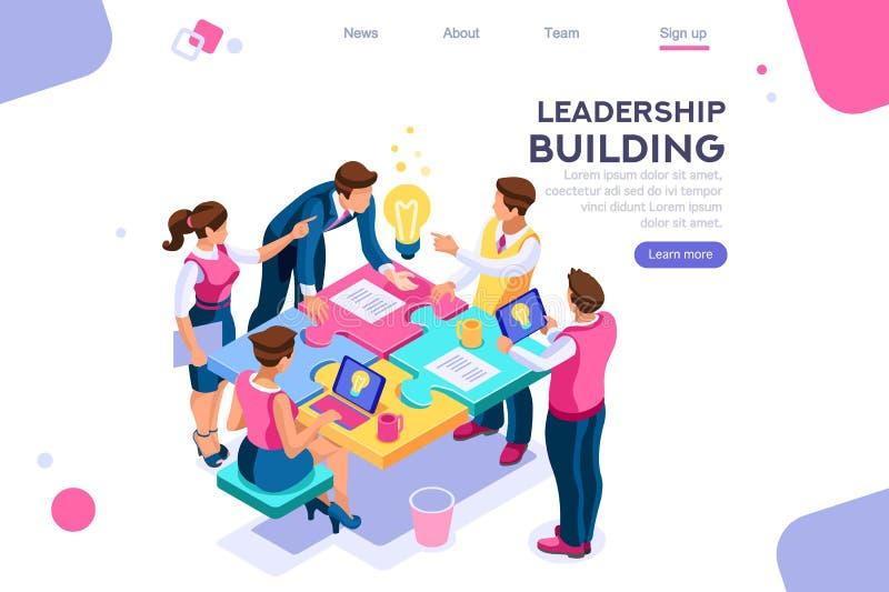 Biznesowa łamigłówki jedności lidera budowa ilustracja wektor
