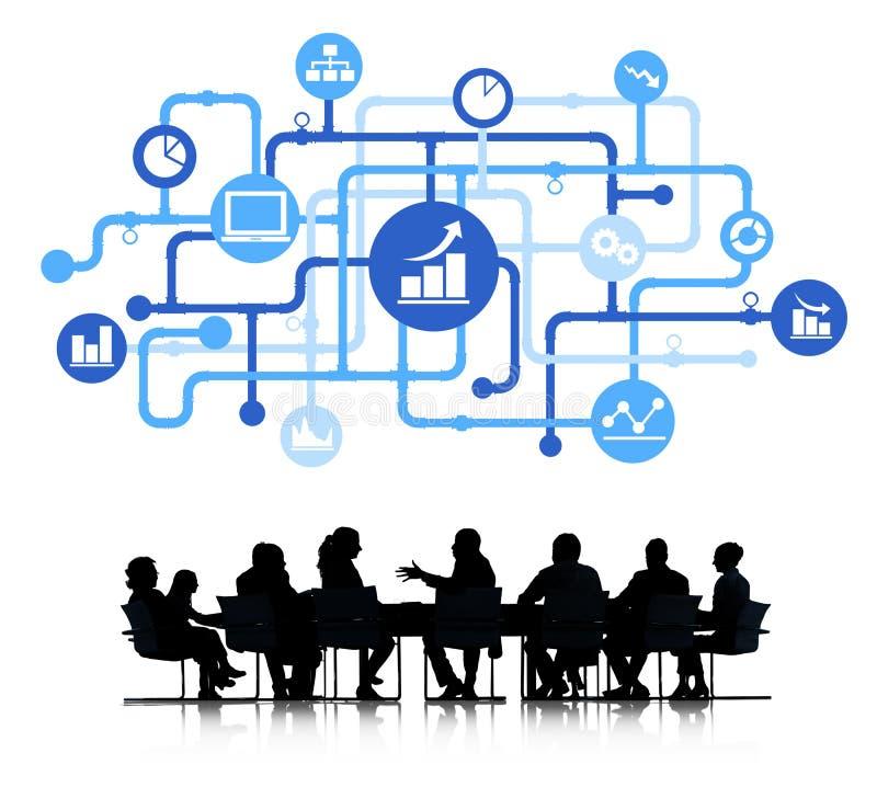 Biznesowa analityk grupa z Biznesowym pojęciem ilustracji