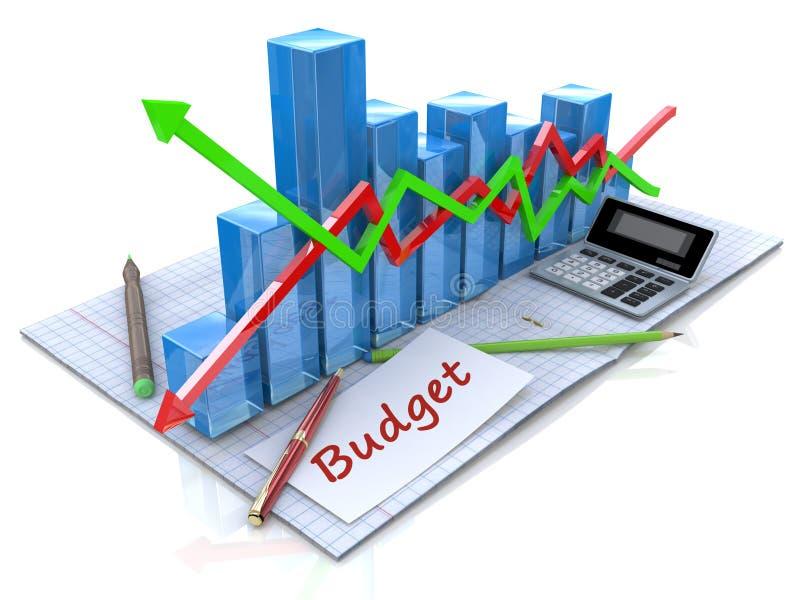 Biznesowa analiza, obliczenie budżet royalty ilustracja