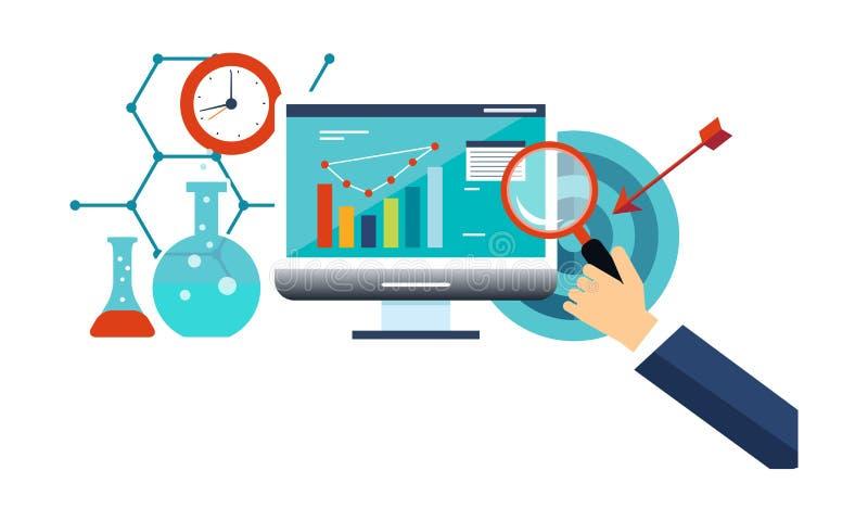 Biznesowa analiza, zarządzanie przedsiębiorstwem, internet marketingowa wektorowa ilustracja ilustracja wektor