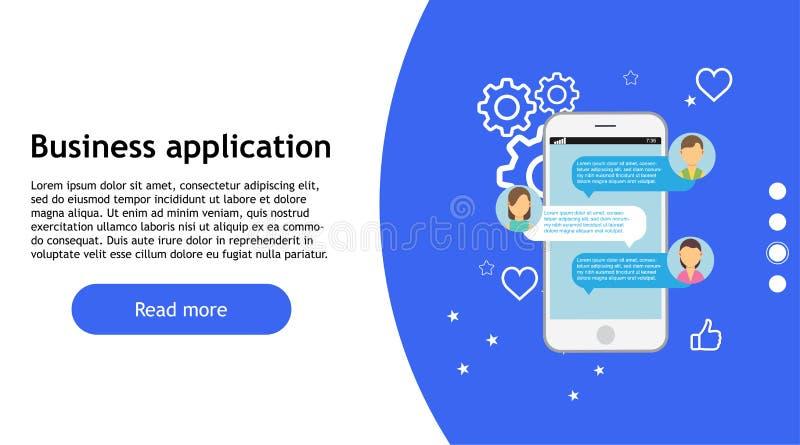 Biznesowa app technologii telefonu wektoru ikona Sieć projekta mobilny internet online, Smartphone rozwoju pojęcia marketingowa p royalty ilustracja