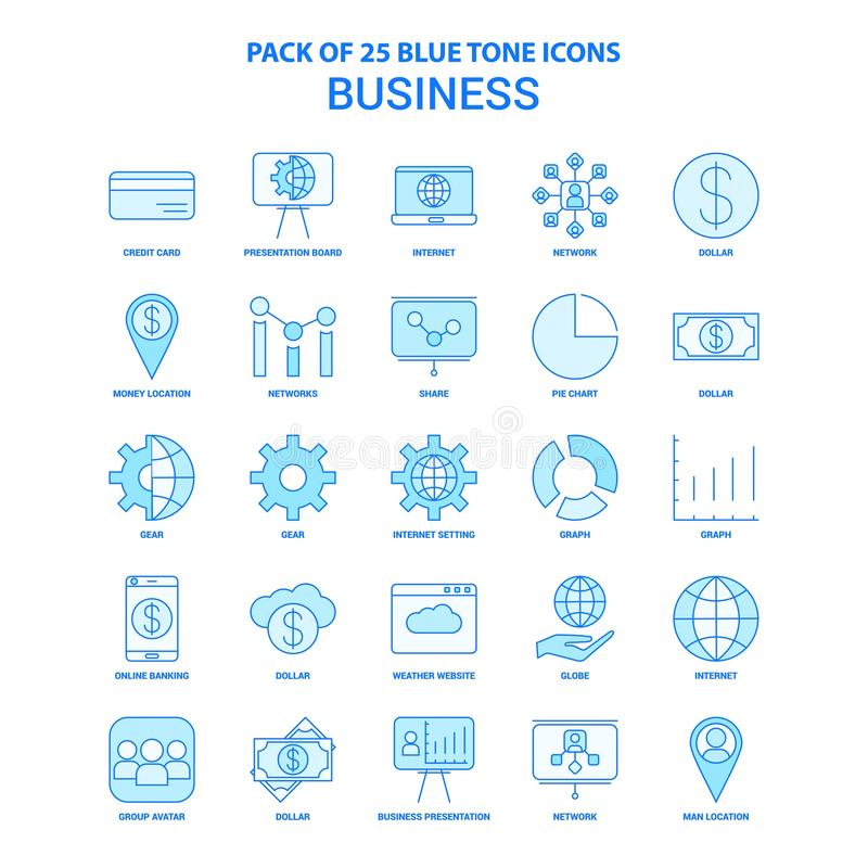 Biznesowa Błękitna brzmienie ikony paczka - 25 ikon setów ilustracji