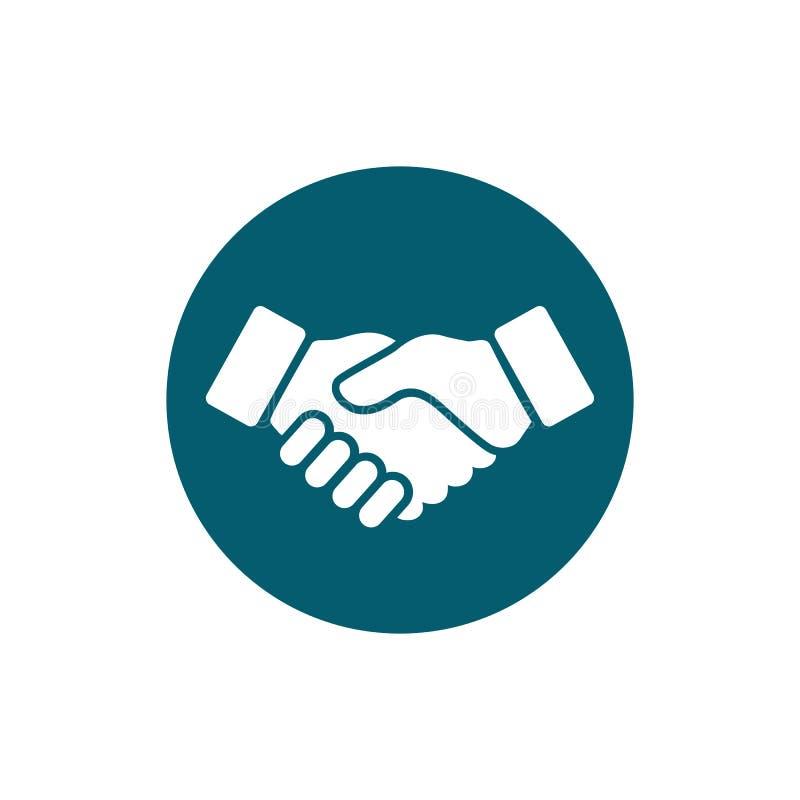 Biznesowa błękitna uścisk dłoni ikona wektor ilustracji