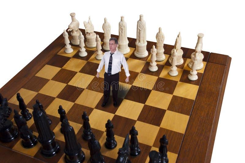 biznesowa biznesmena szachy strategia marketingowa zdjęcia stock