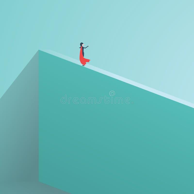 Biznesowa bohatera bizneswomanu pozycja na wysokim murze Symbol biznesowa odwaga, męstwo, nieustraszenie, władza Symbol royalty ilustracja