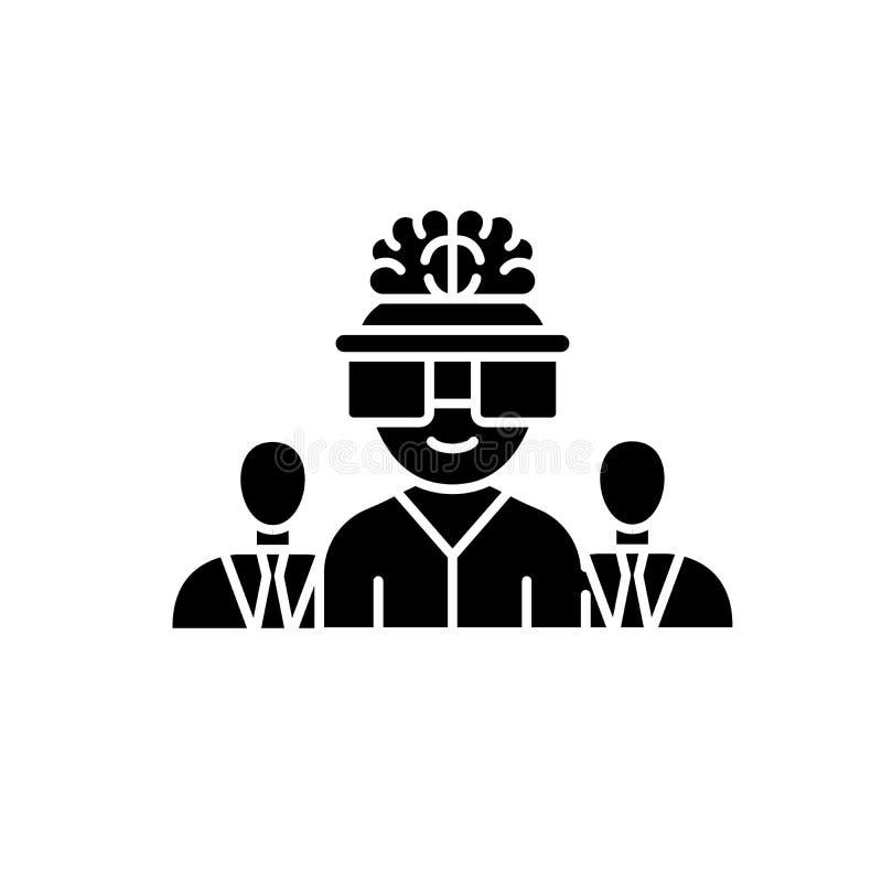 Biznesowa brainstorming czerni ikona, wektoru znak na odosobnionym tle Biznesowy brainstorming pojęcia symbol ilustracja wektor