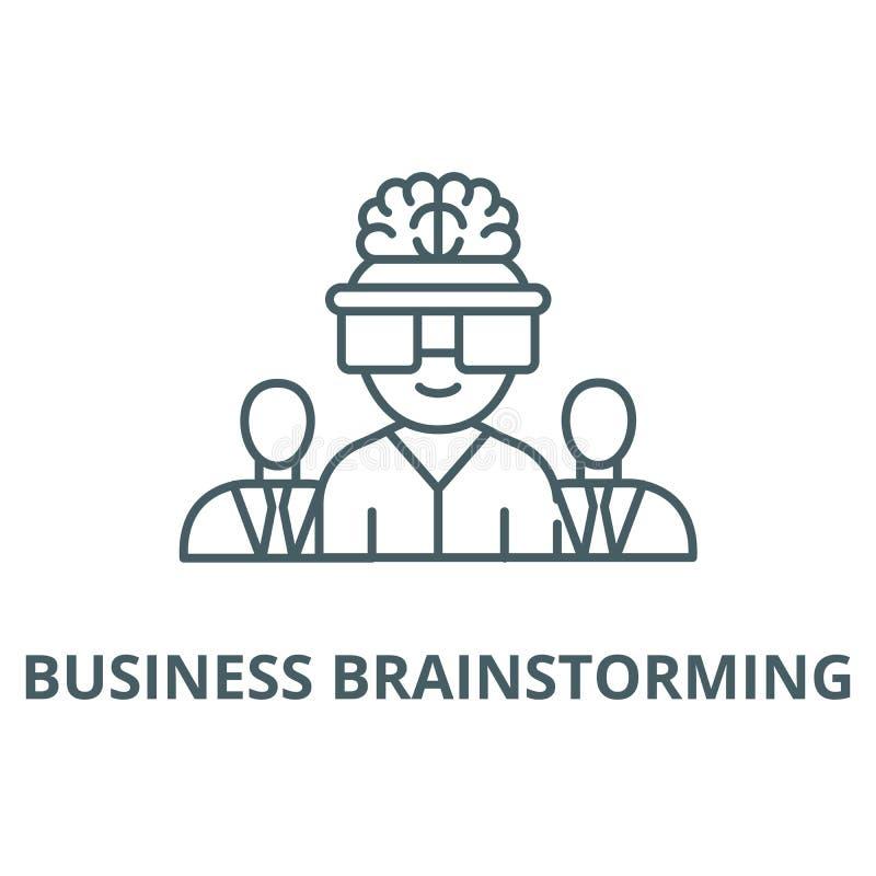 Biznesowa brainstorming linii ikona, wektor Biznesowy brainstorming konturu znak, pojęcie symbol, płaska ilustracja ilustracja wektor