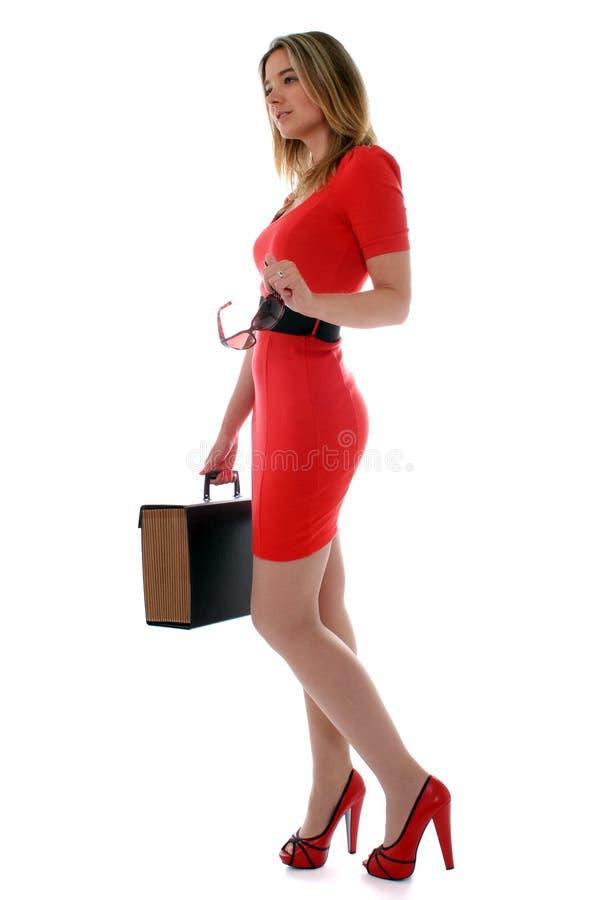 biznesowa czerwona kobieta zdjęcie stock