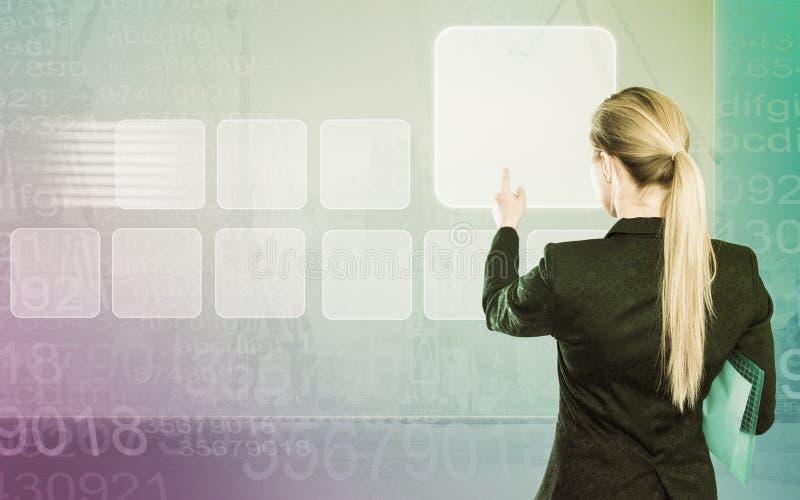 Biznesowa dama dotyka cyfrowego interfejs obrazy royalty free