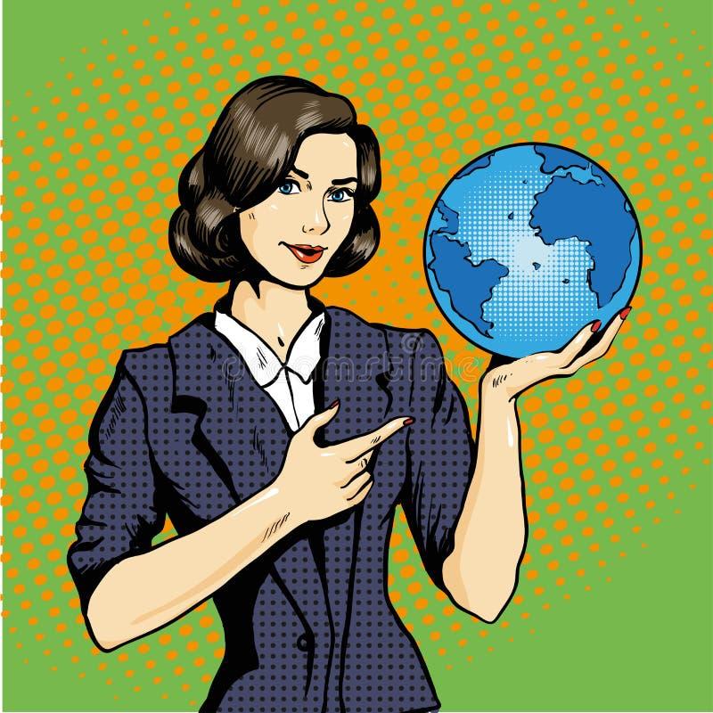 Biznesowa dama z planety ziemią w ręka wystrzału sztuki wektorowej ilustracyjnej komiczce ilustracji