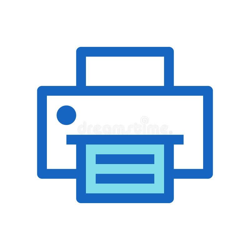 Biznesowa drukarka Wypełniający Kreskowej ikony Błękitny kolor royalty ilustracja