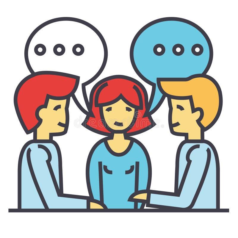 Biznesowa dyskusja, biznesmen i biznesmen negocjacja, negocjacja, brainstorming pojęcie ilustracji