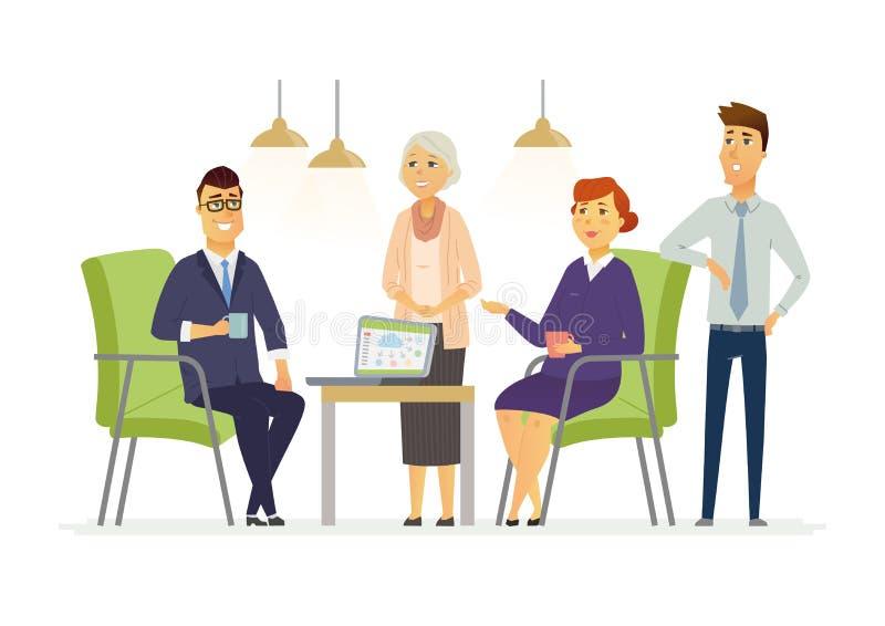 Biznesowa dyskusja - nowożytni wektorowi postać z kreskówki ilustracyjni ilustracja wektor