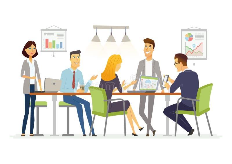 Biznesowa dyskusja - nowożytni wektorowi postać z kreskówki ilustracyjni royalty ilustracja