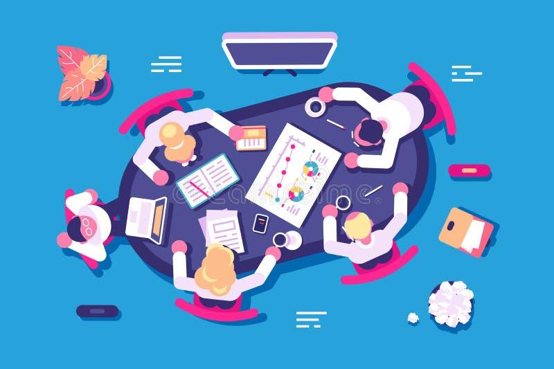 Biznesowa dyskusja w biurze ilustracja wektor