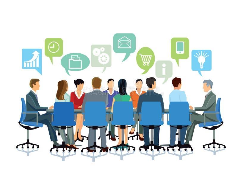 Biznesowa dyskusja w grupie ilustracji