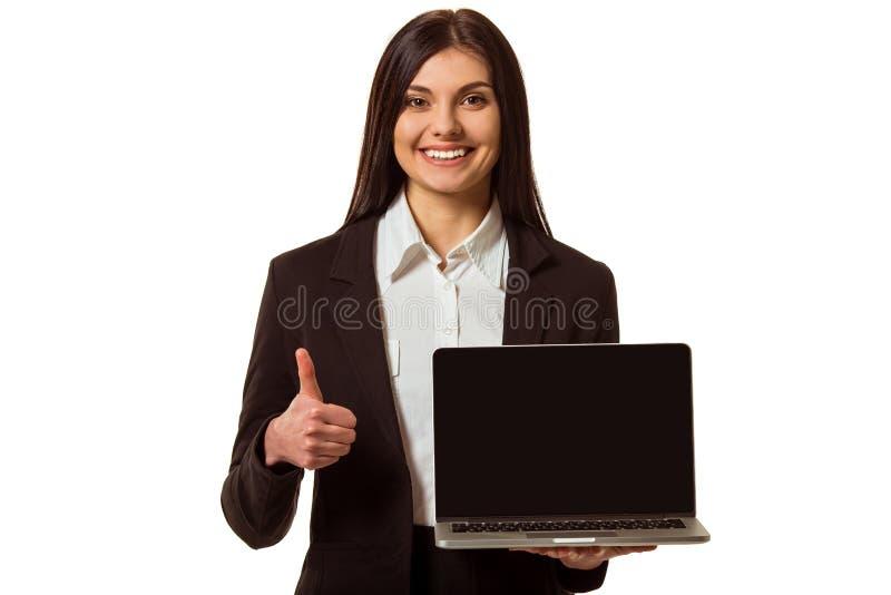 Biznesowa dziewczyna i gadżet zdjęcia royalty free