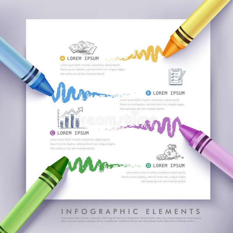 Biznesowa edukaci kredka Infographics ilustracji